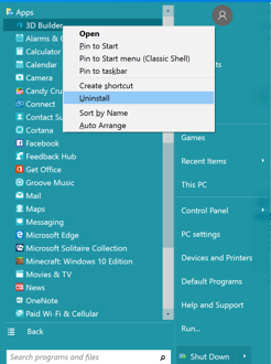 How to Uninstall Programs on Windows 10 from the Start Menu