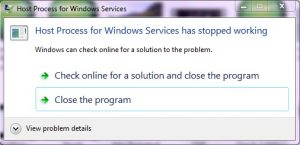 Fix Host Process for Windows Services has Stopped Working