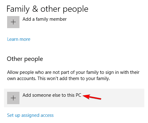 Create a new Windows 10 User Account
