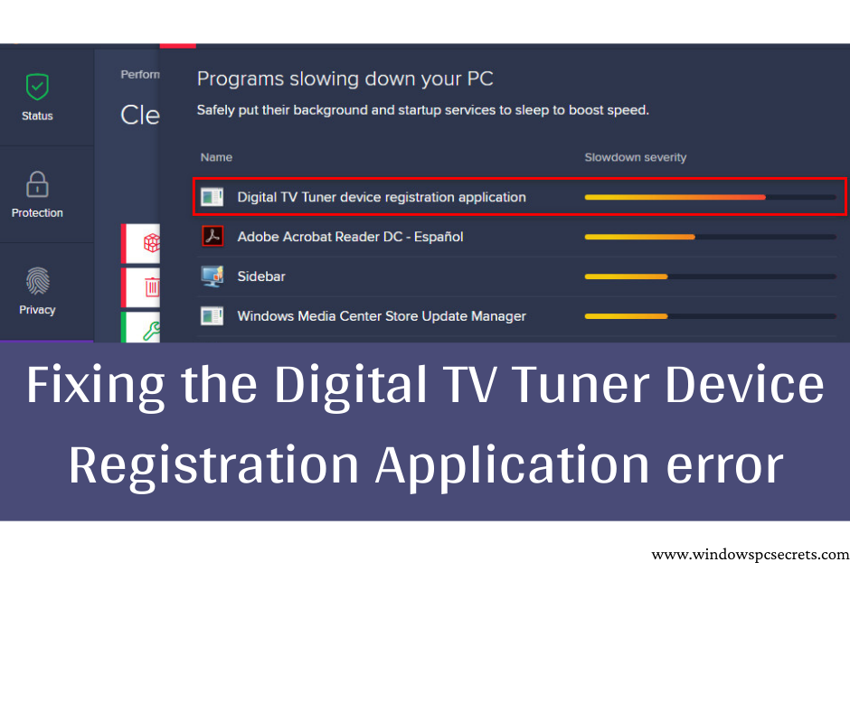 Fixing the Digital TV Tuner Device Registration Application error