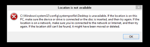 C:\Windows\System32\Config\Systemprofile\Desktop is Unavailable